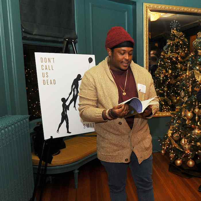 Danez Smith reading at the Graywolf holiday party