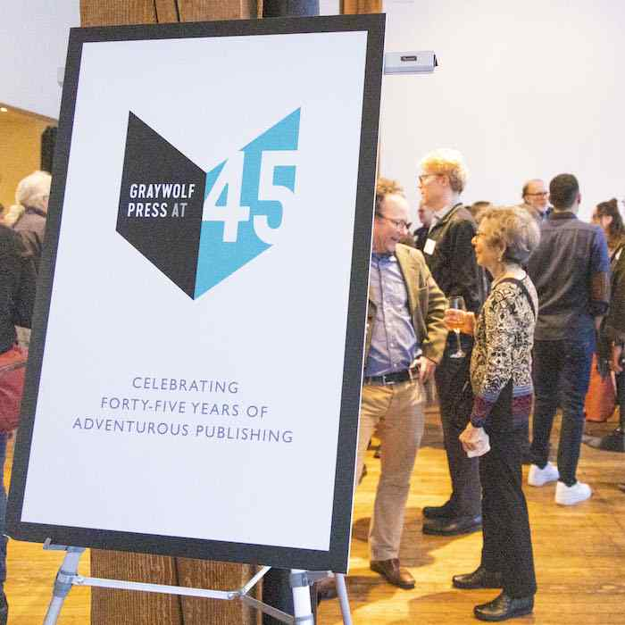 Supporters celebrating Graywolf at 45 in Portland