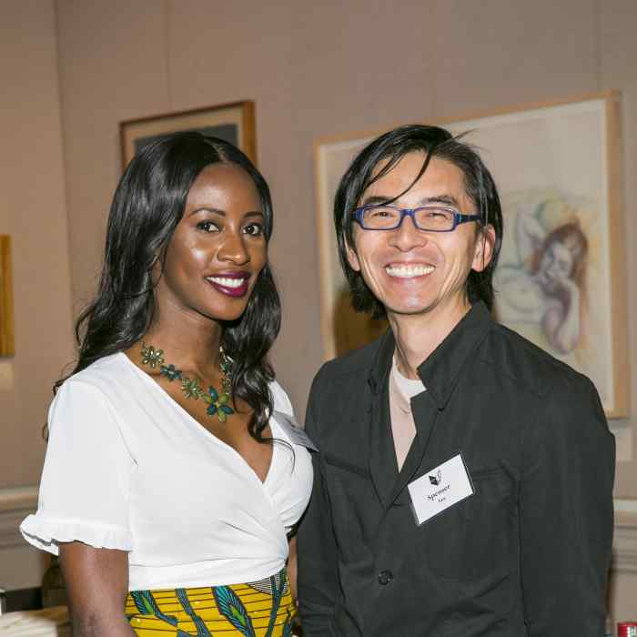 Graywolf author Wayetu Moore and FSG sales director Spenser Lee at the Graywolf Literary Soiree