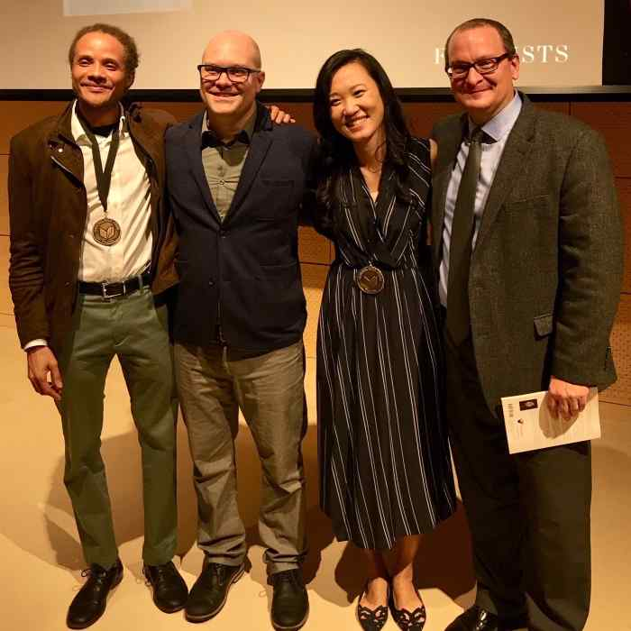 Jamel Brinkley, Steve Woodward, Jenny Xie, and Jeff Shotts at the 2018 National Book Awards