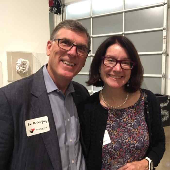 Ed McConaghay and Maura McCormack at a Graywolf party in San Francisco