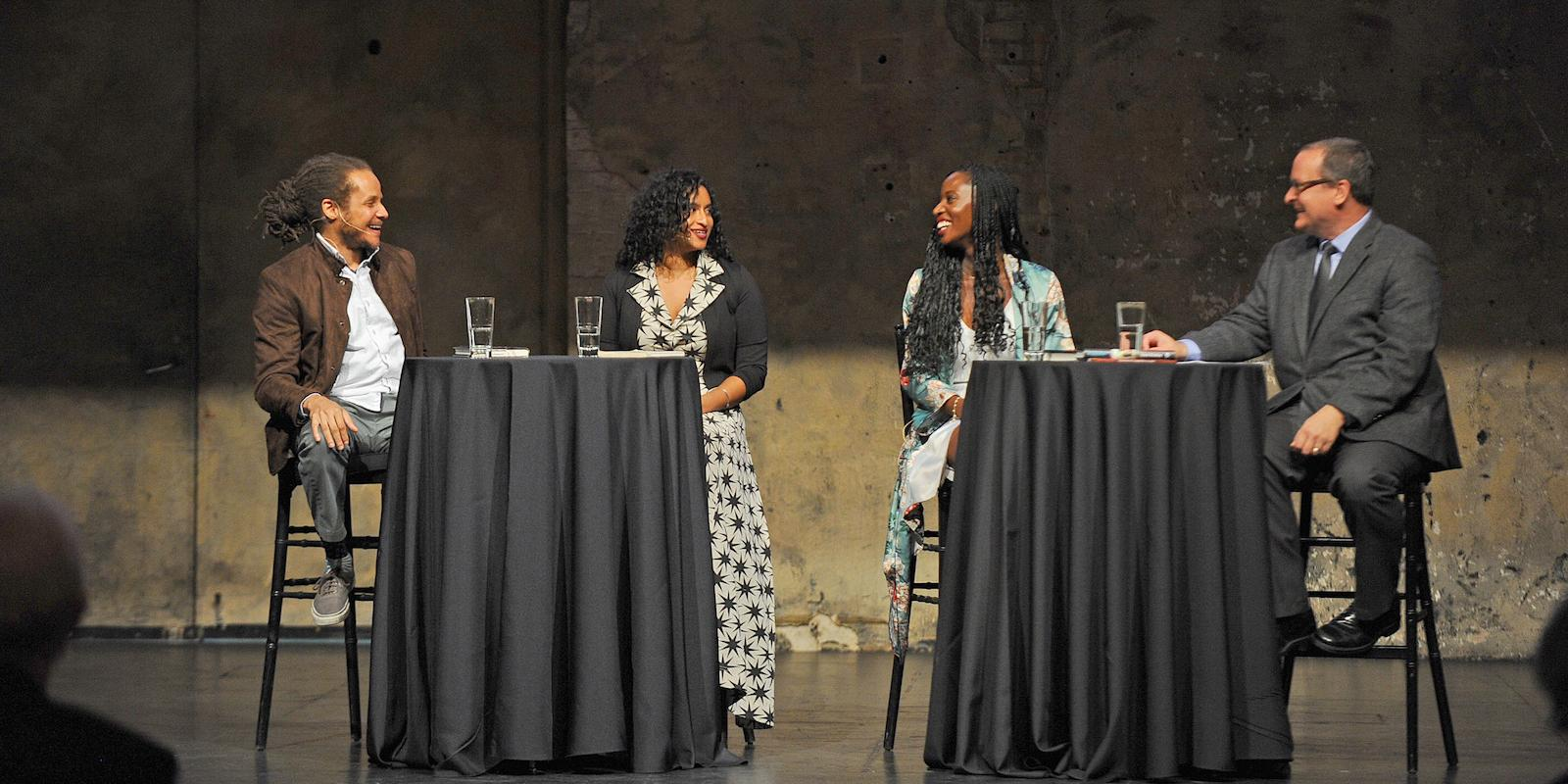Jamel Brinkley, Tarfia Faizullah, Wayetu Moore, and Jeff Shotts at the 2018 Graywolf Literary Salon